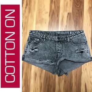 Cotton On - Mid Rise Frayed Jean Shorts